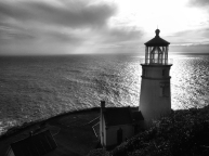 Heceta Head Lighthouse balck and white